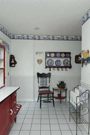 Country Kitchen with Paint 1, Inset cabinets, One-wall, Standard height, limestone tile floors, Chair rail, French doors