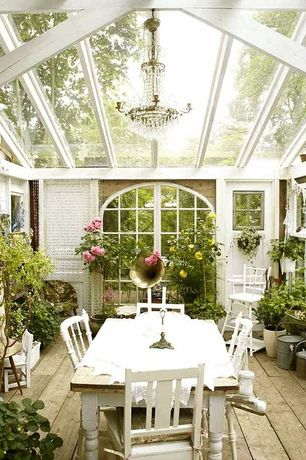 Cottage Porch with French doors, Arched window, Pathway, Screened porch, Greenhouse, Natural light, Chandelier, Casement