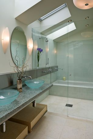 Contemporary Master Bathroom with Carrara White 24x24 Tile Polished - Marble from Italy, Vessel sink, Paint 1, Rain shower