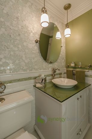 Traditional Full Bathroom with Pegasus verdi vessel sink white, Paint, Carrara white bubble round mosaic tile honed