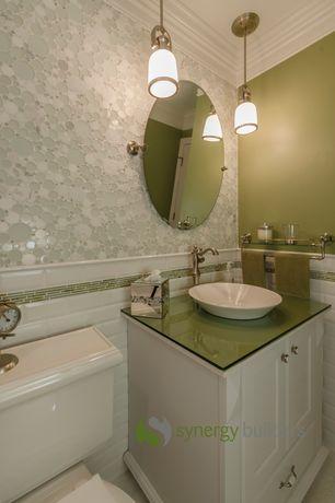 Traditional Full Bathroom with Carrara white bubble round mosaic tile honed, Pegasus verdi vessel sink white