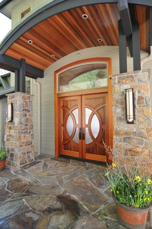 Craftsman Front Door with Transom window, After hours outdoor wall sconce - grande, Round glass double front door, Pathway