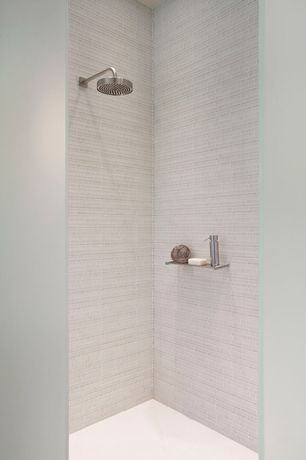 Contemporary 3/4 Bathroom with Artos boston wall mount rain shower head, TileBar Spa Tuscany Pattern Super White Glass Tile