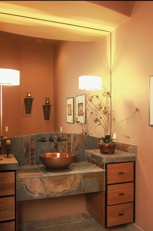 Rustic Powder Room with Led soft strip lighting, Onyx, Powder room, Wall sconce, specialty door, onyx tile counters, Flush
