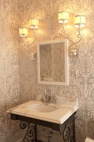 Traditional Powder Room with Arizona Tile, RIVER WHITE, Marble, Hudson Valley Sheffield Nickel with White Wall Sconce