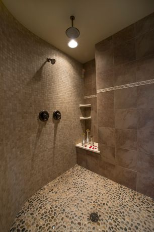 Contemporary Master Bathroom with Standard height, can lights, Shower, Rain shower, Polished cobblestone pebble tile
