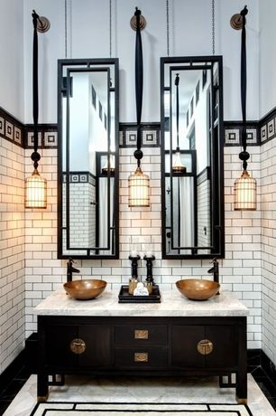 Traditional Master Bathroom with Black scroll full length mirror, Master bathroom, Wall sconce, Double sink, High ceiling