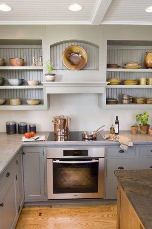 Cottage Kitchen with Inset cabinets, Casa de Colour Butterscotch Oak Hardwood Flooring, Flat panel cabinets, Kitchen island