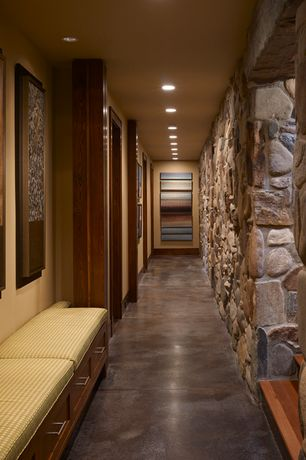 Rustic Hallway with Faux Panels Carlton Fieldstone Faux Tall Panels, Designer Concrete Floor Stained Concrete Flooring