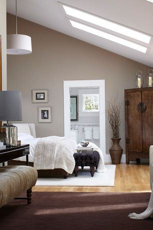 Contemporary Master Bedroom with Apothecary Glass Jug Table Lamp, Velvet clare tufted bench, Pendant light, Skylight