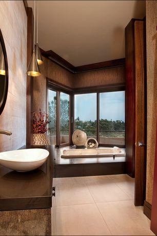Asian Master Bathroom with Stone Outlet Modern Porcelain Vessel Sink, Arizona tile- marte botticino 24 x 48 tile, Drop in tub
