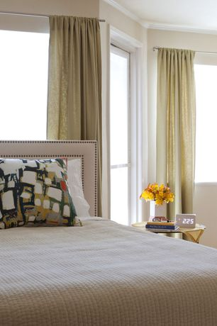 Contemporary Master Bedroom with Pick-stitch quilt, Tamsen upholstered square headboard & storage platform bed, Paint 1