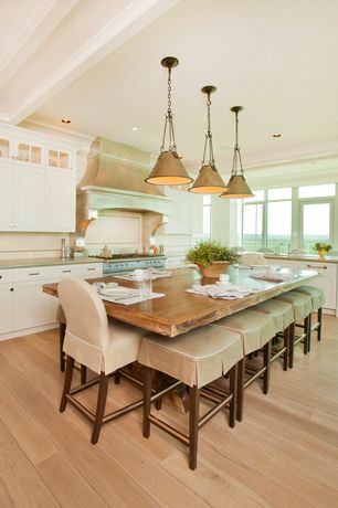 Contemporary Kitchen with Flush, Undermount sink, Flat panel cabinets, L-shaped, Breakfast nook, Limestone, Crown molding