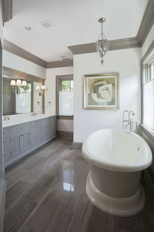 Traditional Full Bathroom with Bathtub, Inset cabinets, Master bathroom, Freestanding, Simple Marble, partial backsplash