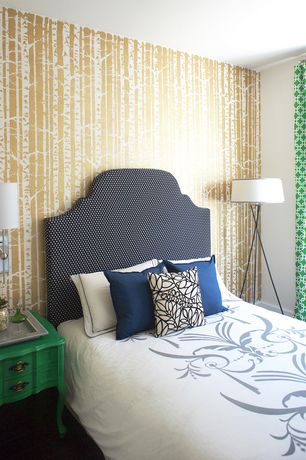 Contemporary Guest Bedroom with Cutting edge stencils - birch forest wall stencil, Wall sconce
