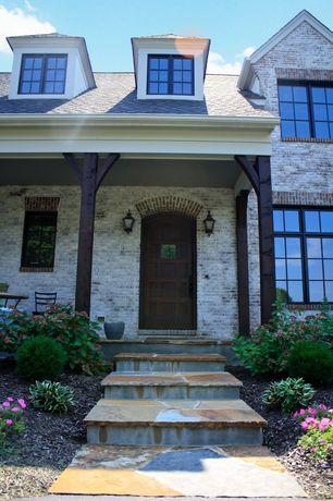 Cottage Front Door with exterior stone floors, Glass panel door, Pathway