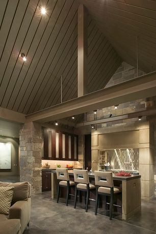 Modern Kitchen with Custom hood, Soapstone counters, Glass panel, L-shaped, Cathedral ceiling, Concrete tile , Breakfast bar