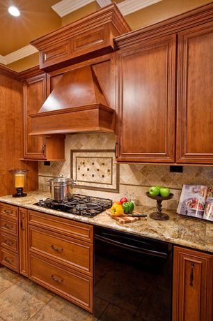Traditional Kitchen with travertine tile floors, Flush, full backsplash, Flat panel cabinets, can lights, Travertine counters