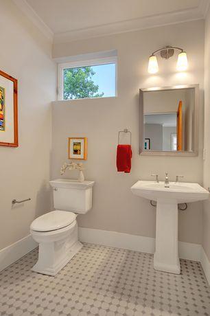 Traditional Powder Room with Powder room, penny tile floors, Pedestal sink, specialty door