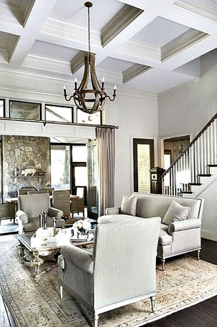 Traditional Living Room with stone fireplace, Box ceiling, Restoration Hardware Wine Barrel Chandelier, Fireplace, Paint 1