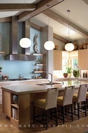 Contemporary Kitchen with Paint 3, Kitchen island, Pendant light, European Cabinets, Simple granite counters, full backsplash