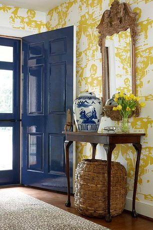 Traditional Entryway with Standard height, interior wallpaper, Concord Global Shaggy Leopard, Queen Anne Tea Table, Paint 1