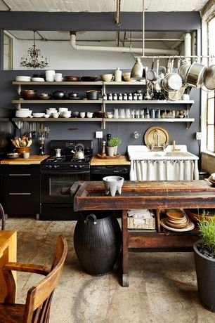 Country Kitchen with Exposed beam, European Cabinets, Deluxe magnetic knife bar, Polished concrete floor, One-wall, Flush