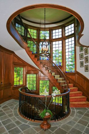 Traditional Staircase with Spiral staircase, High ceiling, Paint, Casement, Concrete tile , Chandelier