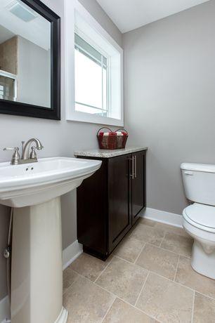 Modern Powder Room with Pedestal sink, three quarter bath, Centerset bathroom faucet, Shower, large ceramic tile floors