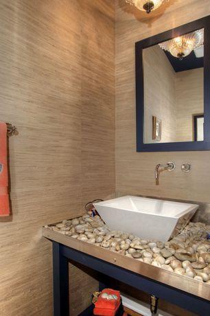 Contemporary Powder Room with Signature Hardware Rotunda Wall-Mount Bathroom Faucet, Amanti Art Madison Medium Mirror