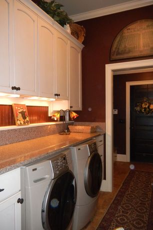 Laundry Room with limestone floors, can lights, Crown molding, Built-in bookshelf, Undermount sink, Standard height
