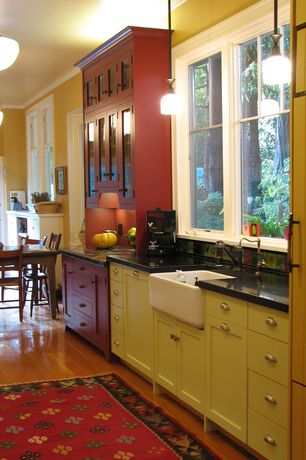 Cottage Kitchen with Farmhouse sink, Paint 1, European Cabinets, Shaker style cabinets, picture window, Flat panel cabinets
