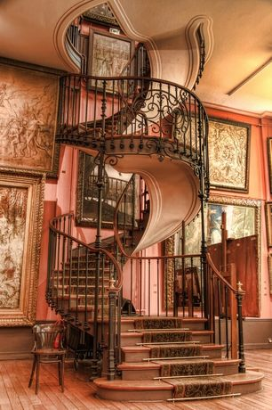 Traditional Staircase with Hardwood floors, Spiral staircase, Custom Curved Staircase, High ceiling, Paint 1