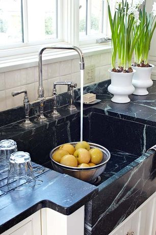 Traditional Kitchen with Complex granite counters, Stone Tile, Soapstone False Front Apron Sink, Farmhouse sink, One-wall