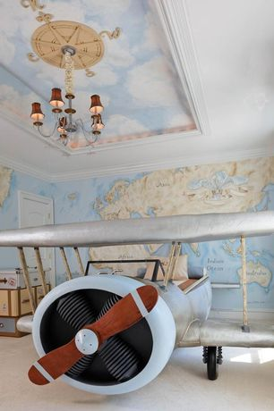 Eclectic Kids Bedroom with Compass Round Chandelier Medallion, interior wallpaper, Circa Lighting Large Farlane Chandelier