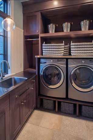 Traditional Laundry Room with Pendant light, Crate and barrel striped laundry hamper, Undermount sink, Built-in bookshelf