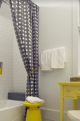 Contemporary Full Bathroom with Bathtub, drop in bathtub, Grey polka dots shower curtain, West elm martini side table