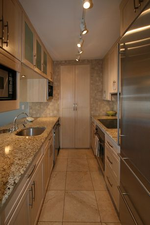 Modern Kitchen with MS International Amber Yellow Granite Countertop, Glass panel, Custom hood, Simple granite counters