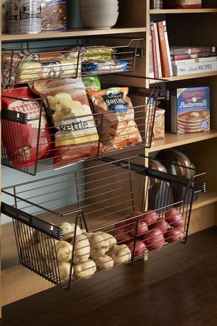Contemporary Pantry with Hardwood floors, Rev a shelf wire pull-out baskets