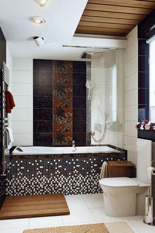 Contemporary Master Bathroom with tiled wall showerbath, Handheld showerhead, flush light