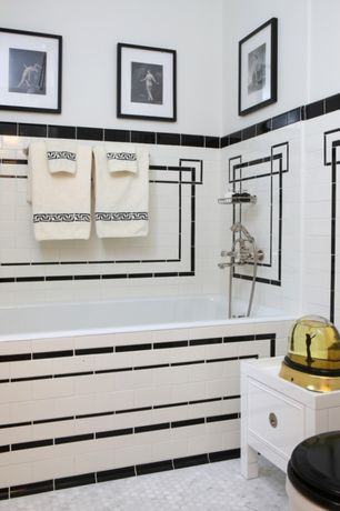 Traditional Master Bathroom with Flat panel cabinets, Inset cabinets, Master bathroom, penny tile floors