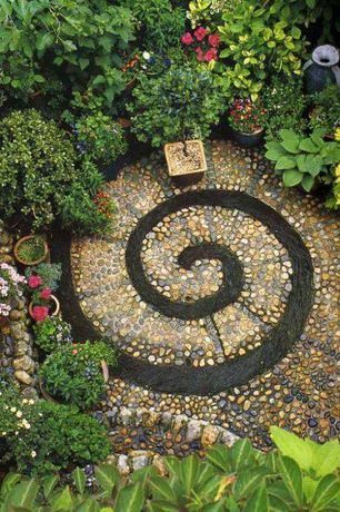 Eclectic Landscape/Yard with Spiral garden mosaic, DIY Spiral Rock Pebble Mosaic Path, mosaic patio, Gold Standard Hosta