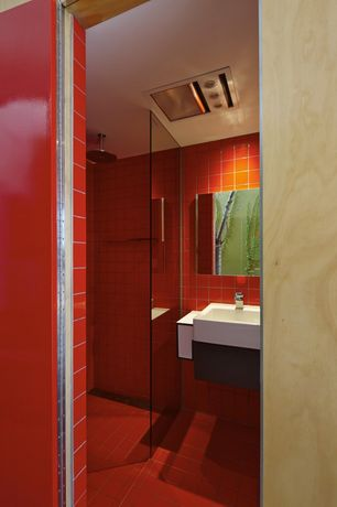 Modern 3/4 Bathroom with specialty door, Rain shower, Wall mounted sink, frameless showerdoor, Corian counters