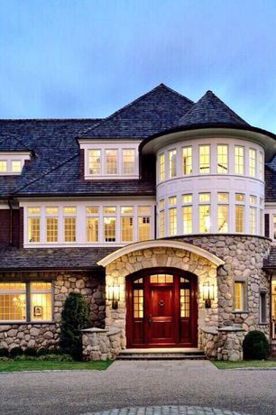 Traditional Front Door with Pathway, Casement, exterior stone floors, Deck Railing, six panel door, Transom window