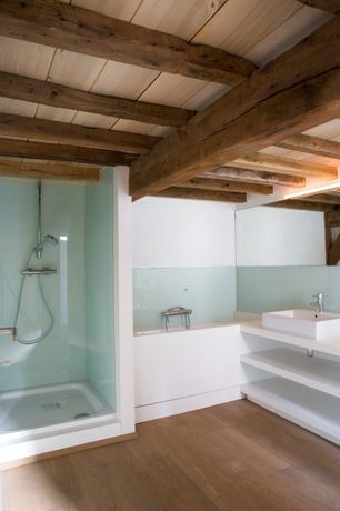 Rustic Master Bathroom with Master bathroom, Standard height, Corian counters, Vessel sink, frameless showerdoor, Shower