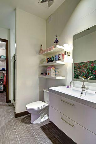 Contemporary 3/4 Bathroom with Daltile Fabrique Gris Linen Porcelain Tile, Undermount sink, Corian counters, Wall sconce