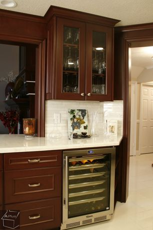 Traditional Bar with EdgeStar ES CWR301SZ 30 Bottle Built-In Wine Cooler, Crown molding, limestone tile floors