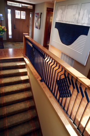 Craftsman Staircase with Stained glass window, Glass panel door, Hardwood floors, Transom window