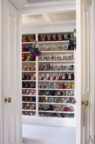 Traditional Closet with Crown molding, Woman's shoe storage open shelving, Hidesign by Scully Handbag - Aubergine, Carpet