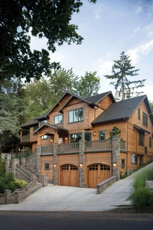 Rustic Exterior of Home with Exterior stacked stone